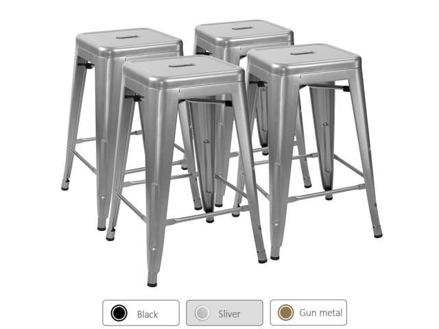 Terrific Devoko Metal Bar Stools 24 Indoor Outdoor Stackable Barstools Modern Style Industrial Vintage Gun Counter Bar Stools Set Of 4 Silver Newegg Com Ibusinesslaw Wood Chair Design Ideas Ibusinesslaworg