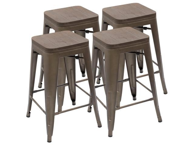 Outstanding Devoko Metal Bar Stool 24 Indoor Outdoor Stackable Barstools Modern Industrial Vintage Gun Counter Wood Top Bar Stools Set Of 4 Gun Beatyapartments Chair Design Images Beatyapartmentscom
