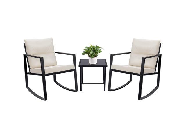 Excellent Devoko 3 Piece Bistro Sets Wicker Patio Outdoor Rocking Chairs Front Deck Porch Furniture With Glass Coffee Table Black Chair Beige Cushion Ibusinesslaw Wood Chair Design Ideas Ibusinesslaworg