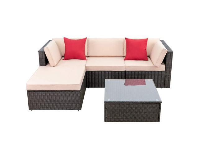 Devoko 5 Pieces Patio Furniture Sets, Patio Furniture 3 Piece Sectional Sofa Resin Wicker Beige