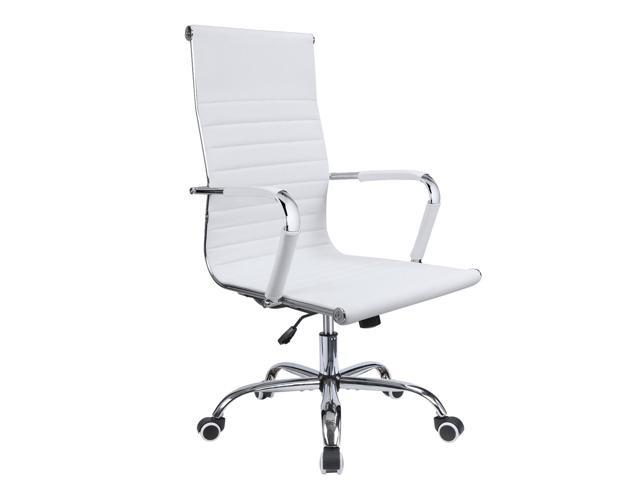 White Armless Office Chair Mid Back Leather Adjustable Height Office Stool Chair