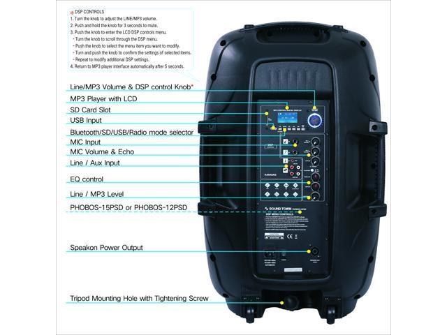 Sound Town 15-inch 2-Way Powered Portable PA/DJ Speaker with  DSP/LPF/Bluetooth/USB/SD Card Reader/FM Radio (PHOBOS-15PD) - Newegg com
