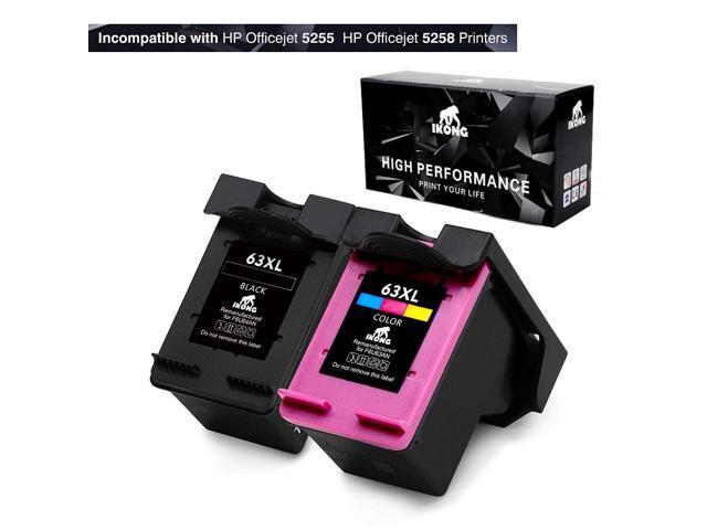 IKONG ink cartridges for HP 63 Ink with Ink Level Display, 63XL (1 Black &  1 Tri-Color) Work with Envy 4520 4516 4655,OfficeJet 4650 3830,DeskJet 2130