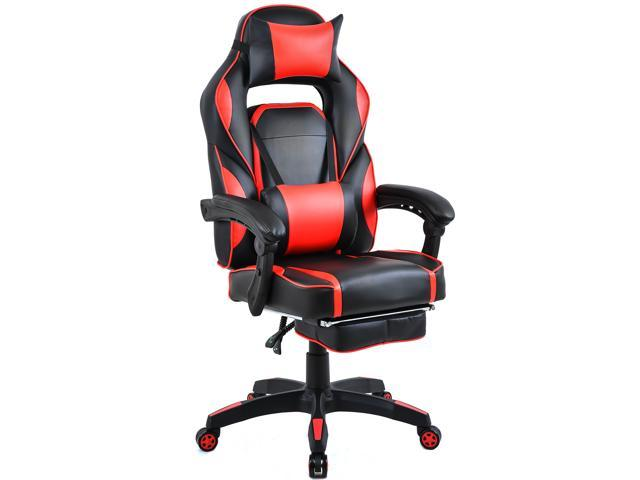 Super Merax Executive Gaming Chair With Premium Pu Leather And Extendable Footrest Ergonomic Headrest And Lumbar Support Red Black Ncnpc Chair Design For Home Ncnpcorg