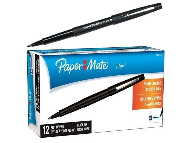 Black Ink 8430152 Paper Mate Flair Felt Tip Pen Box of 12 Medium Point