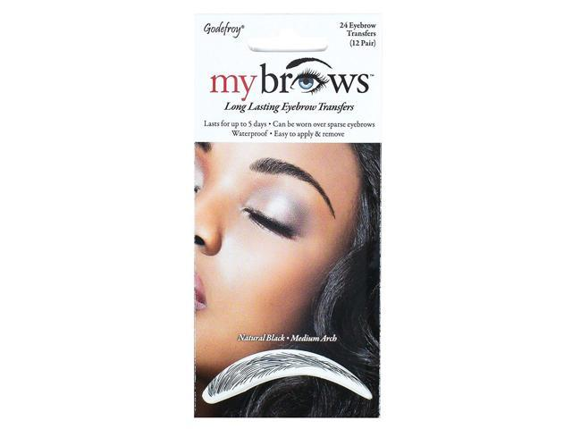 2 Pack Godefroy My Brows Natural Black Medium Arch 12 Pairs