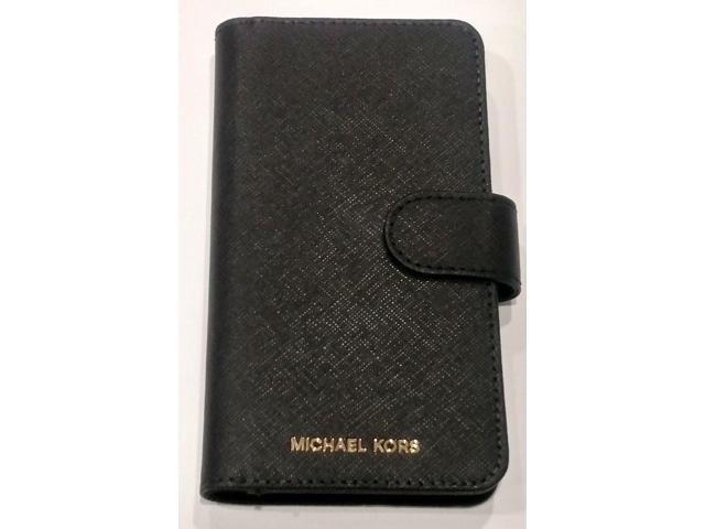 best website 6959b d1d6c Refurbished: Michael Kors Saffiano Leather folio wallet Case for iPhone X &  iPhone XS - black - Newegg.com