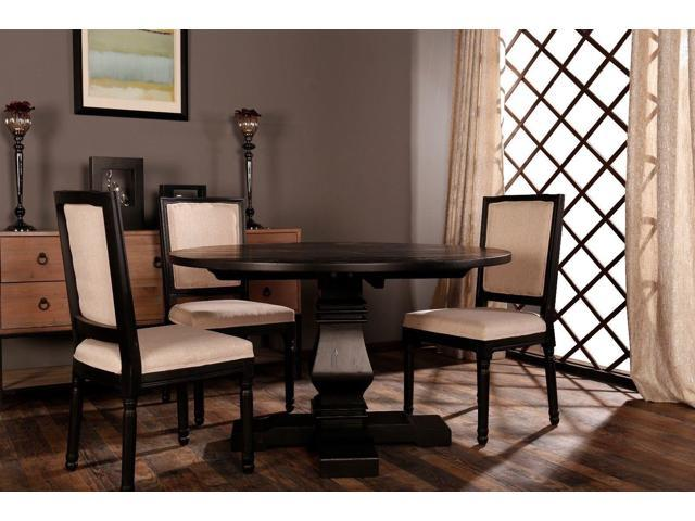 Classic Rustic Medieval Style Round Dining Room Kitchen Table, Black