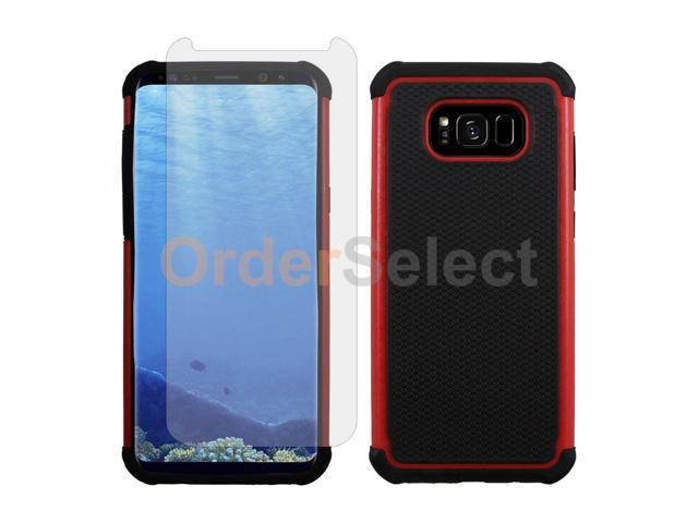 size 40 5e95f 51dd4 Hybrid Rubber Case+LCD Screen Protector for Android Samsung Galaxy S8 Plus  Red - Newegg.com
