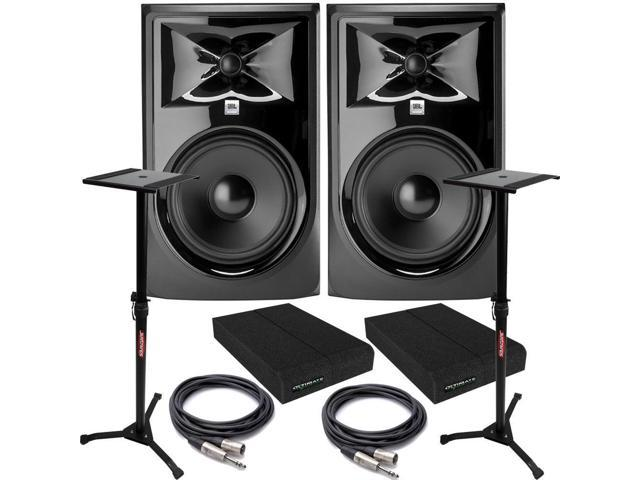 jbl 308p mkii powered studio monitor pair with pads trs xlr cables and stands. Black Bedroom Furniture Sets. Home Design Ideas