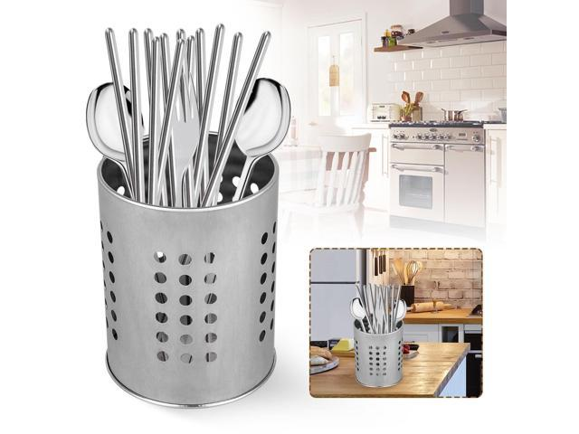 Stainless Steel Utensil Container Flatware Cylinder Caddy Holder w/ Drain  Holes