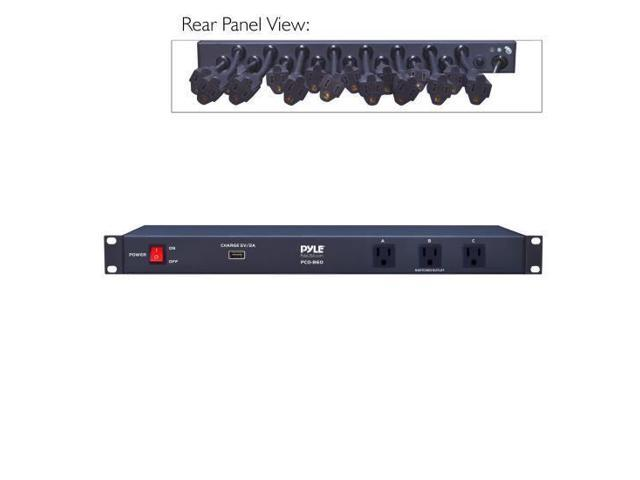 new pyle pco860 rack mount power conditioner strip with usb charge port. Black Bedroom Furniture Sets. Home Design Ideas