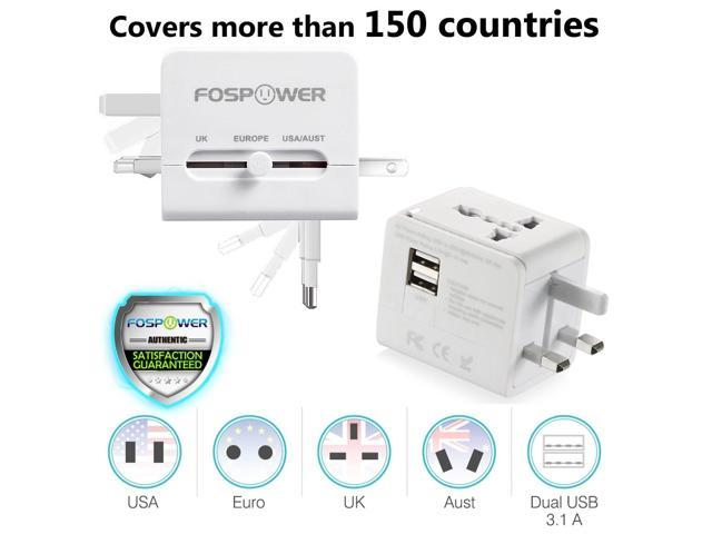 Universal Travel Adapter Wall Charger 2 USB International AC Plug US UK EU AU