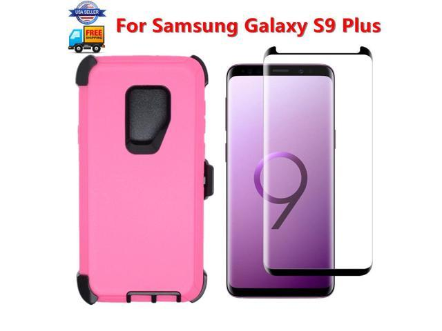 For Samsung S9 Plus Case Cover (Clip Fits Otterbox Defender)&Screen Pink  Black - Newegg com