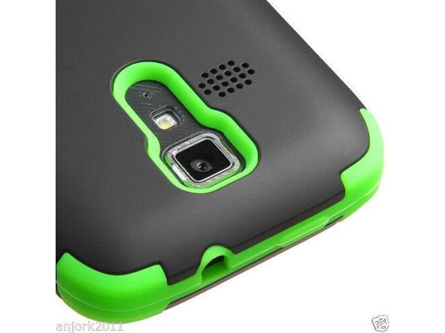 Kyocera Hydro Icon C6730 Life C6530 Hybrid T Armor Case Skin Cover Black  Green - Newegg com