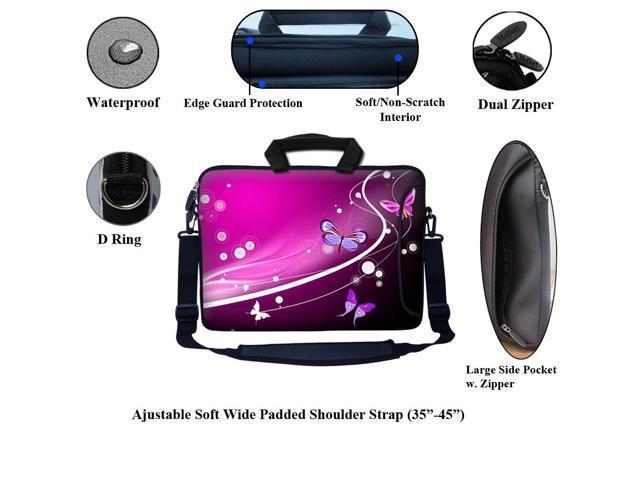 """17.3/"""" 17/"""" Neoprene Laptop Bag Sleeve with Pocket Shoulder Strap Handle 2502"""