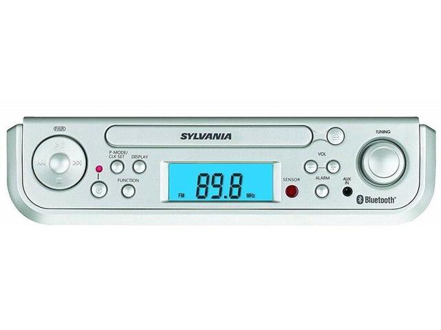 Silver Sylvania SKCR2713 Under Counter CD Player with Radio and Bluetooth