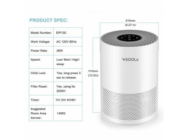 Air Purifier Hepa Filter Odor Allergies Eliminator 3 Stage Filtration System UU