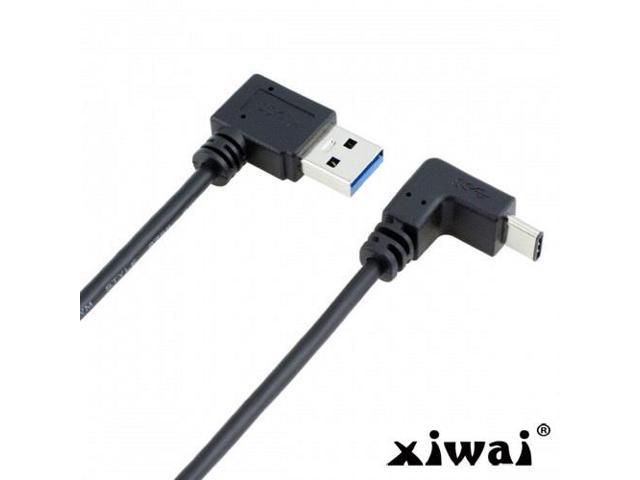 Generic Xiwai 100cm USB 3.1 USB-C Up /& Down Angled to 90 Degree Right Angled A Male Data Cable for Laptop /& Tablet /& Phone