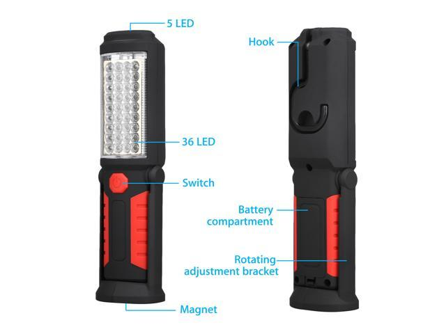 36+5LED Magnetic Work Light Battery Operated  Inspection Lamp Torch