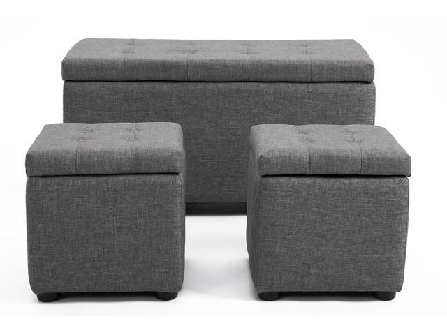 Fantastic Samincom Fabric 3 Piece Storage Bench Cube Ottoman Set Grey Bxf009001 1 Newegg Com Ncnpc Chair Design For Home Ncnpcorg