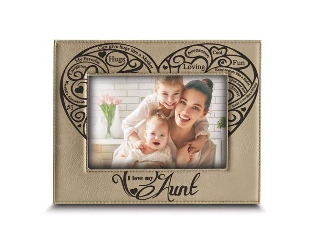 Bella Busta I Love My Aunt Engraved Leather Picture Frame Aunt