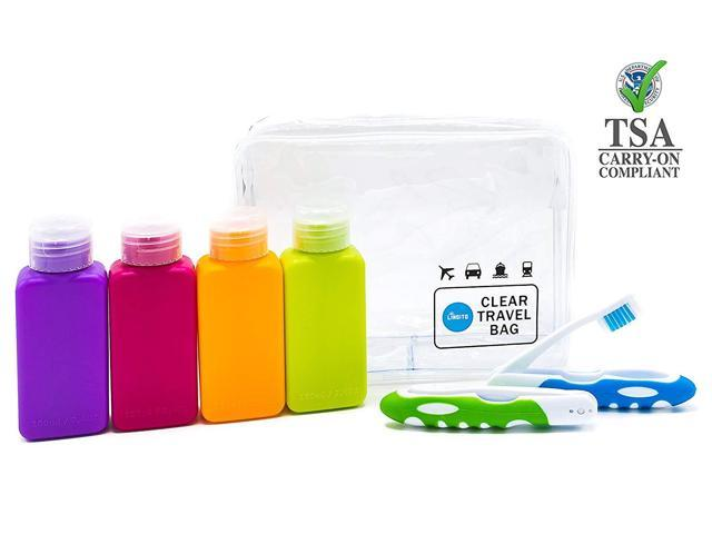 17a7910c9e03 Lingito Travel Bottle Set, Leak Proof Travel Accessories, TSA Carry-On  Approved, Refillable Travel Size Toiletries Containers. Bonus Toothbrush  and ...