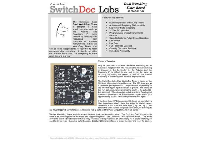 SwitchDoc Labs Dual WatchDog Timer Board for Arduino / Raspberry Pi -  Newegg com