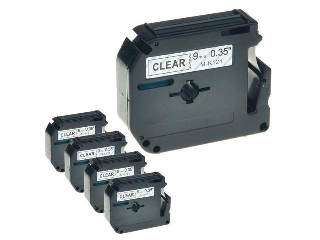 9mm 3//8/'/' Black on Clear Tape For Brother M-K121 M121 MK121 PT-100 Label Maker