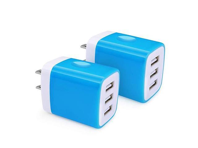USB Charger Cube, Hootek 2-Pack 3 1A 3-Multi Port Home Charger Plug USB  Wall Charger Adapter Charging Block Box Brick Co - Newegg com
