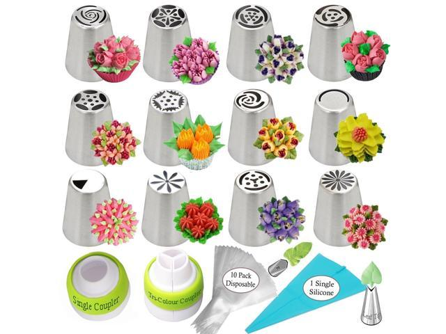 Russian Piping Tips Cake Decorating Supplies Flower Frosting Tips Set 12 Icing Nozzles 1 Single Coupler 1 Tri Color Coupler 2 Leaf Tips 1 Silicone Bag