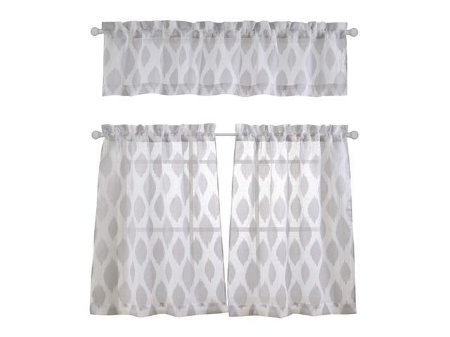MYSKY HOME Fashion 3 Pieces Jacquard Kitchen Sheer Tier Curtains and  Valance Set, Grey - Newegg.com