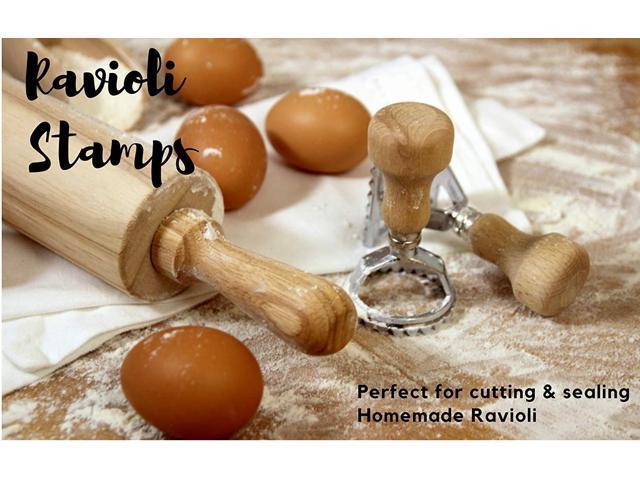 Ravioli Maker Cutter Stamp Set – Leading Dough Cutter and Press Stamps with  Wooden Handle –for Ravioli, Pasta, Dumplings Lasagna, Pierogi – Upgraded