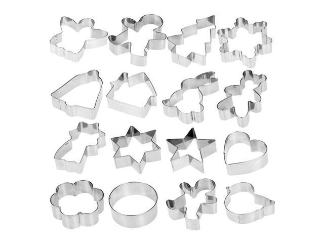 29e025f526e Esonmus 16pcs set Multifunctional Christmas 304 Stainless Steel Cookie  Cutters Heart Gingerbread Man Snowflake Star