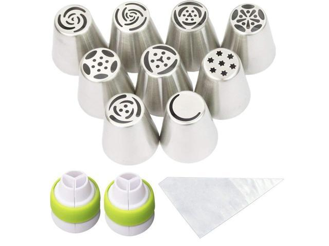 Cofe-BY Russian Piping Tips Cake Decorating Kits 21-Pcs Set for Home Baking  DIY Tool Rose Tulip Icing Piping Nozzles Tip (9 Russian Tips 10 Disposable  ...