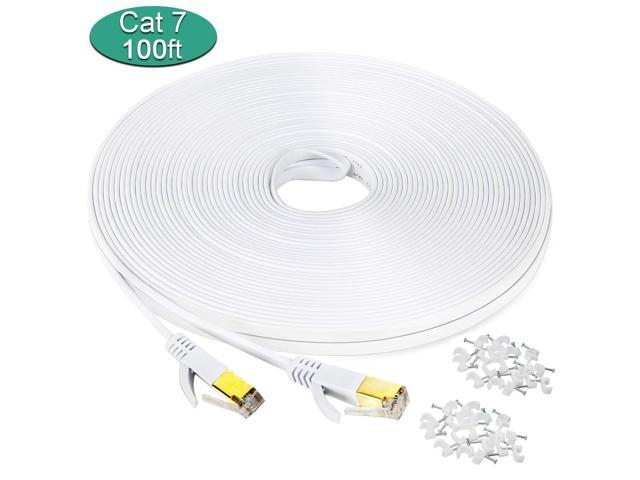 Cat 7 ethernet cable 100 ft Wireless Outdoor Networking Patch cable with clip...