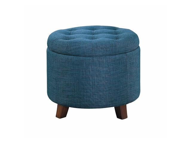 Outstanding Benzara Bm180016 Button Tufted Wooden Round Storage Ncnpc Chair Design For Home Ncnpcorg