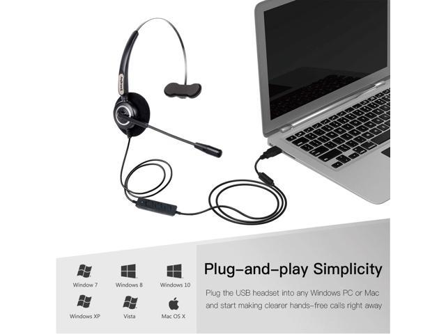 VoiceJoy Office Headset with USB Jack Business Noise Cancelling Headset  with Microphone, Volume Control Mute Switch for Laptops PCs Computers -