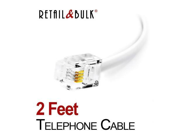 6P4C 2 Feet Short Telephone Cable RJ11 24 Inches Phone Line Cord