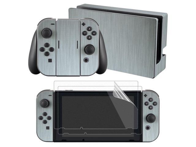 Extremerate Full Set Faceplate Skin Decal Stickers For Nintendo Switch With 2pcs Screen Protector Console Joy Con Dock Grip Steel Texture