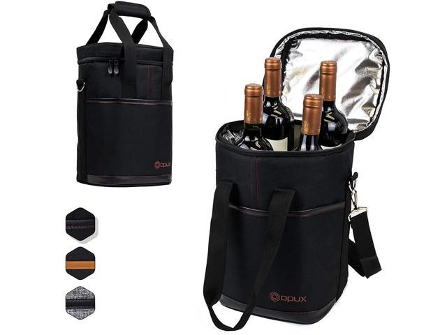 Premium Insulated 4 Bottle Wine Carrier Tote Bag Travel With Shoulder Strap And Padded Protection Cooler Black Newegg