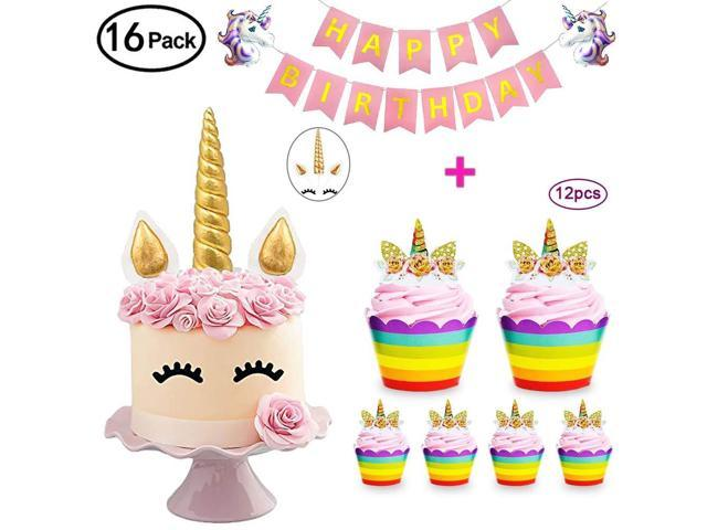 Daisyformals Unicorn Cake Topper with 12x Cupcake Toppers Wrappers and  Happy Birthday Banner + 2Pcs Unicorn Balloons,Unicorn Party Supplies for  Girls