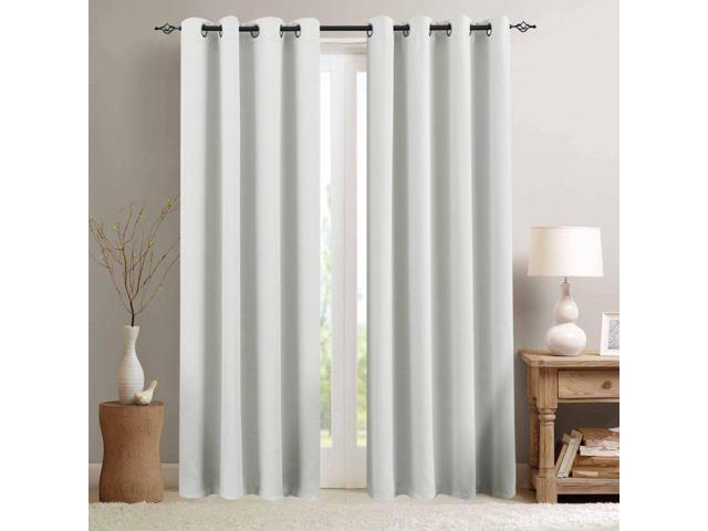 Moderate Blackout Curtains White Curtains 84 inch Bedroom Curtains Living  Room Darkening Window Curtain Panels 84 inches Long Thermal Insulated ...