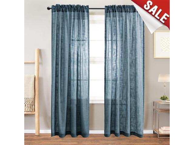 Sheer Curtain Panels for Bedroom Curtain Rod Pocket Linen Like Textured  Window Curtains 84 inches Long 2 Panels Navy Blue - Newegg.com