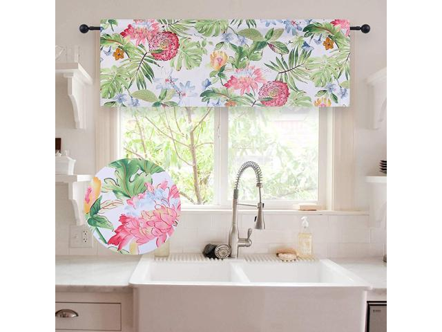 Holking Blackout Window Valance For Nursery Rustic Fl Printed Valances Treatments 18 Inches Long Rod Pocket 1 Panel Green Newegg