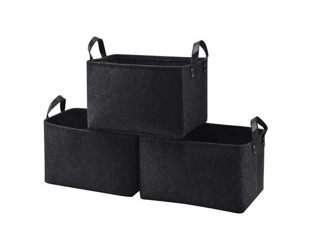 b9a77d965bf7 Collapsible Storage Basket Bins [3-Pack], Foldable Felt Fabric Storage Box  Cubes Containers with Leather Handles- Large Organizer for Nursery ...