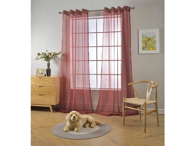 Miuco 2 Panels Grommet Textured Solid Sheer Curtains 84 Inches Long For Bedroom X 54 Wide Burgundy Newegg