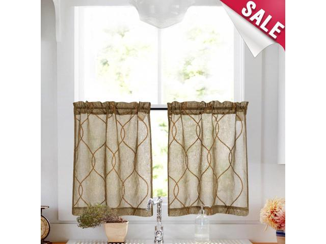 Embroidery Kitchen Curtain Sets 3 Pcs Moroccan Trellis Pattern Embroidered  Semi Sheer Kitchen Tier Curtains and Valance Set 36 inch for Bathroom, ...