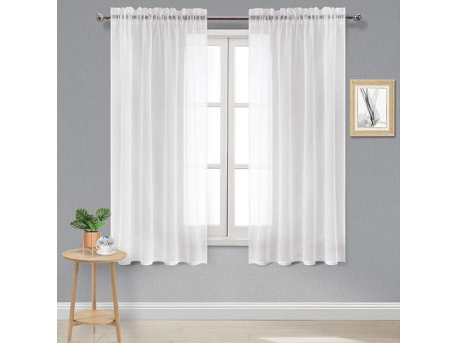 DWCN White Sheer Curtains Linen Look Rod Pocket Bedroom Curtain Panels 52 x  63 inch Length Living Room Curtains,Set of 2 - Newegg.com