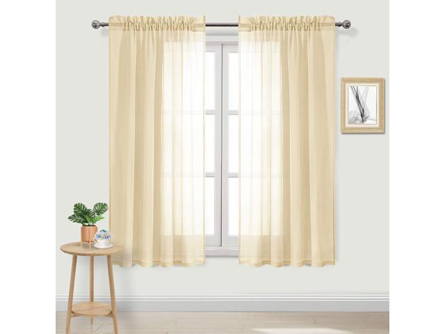 DWCN Beige Sheer Curtains Faux Linen Rod Pocket Bedroom Curtains Set of 2  Panels 52 x 63 inch Length Drapes - Newegg.com